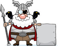 Cartoon Odin Sign. A cartoon illustration of Odin with a sign Stock Images