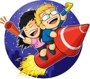 Free Cartoon Of Boy & Girl Riding New Year Firework Stock Image - 27906981