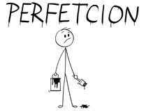 Free Cartoon Of Businessman With Brush And Paint Can Painting The Word Perfection With Spelling Mistake Royalty Free Stock Images - 117298509