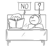 Free Cartoon Of Couple In Bed, Man Wants Sexual Intercourse, Woman Is Reading A Book And Rejecting Royalty Free Stock Photo - 122352075