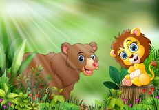Free Cartoon Of The Nature Scene With A Baby Lion Sitting On Tree Stump And Bear Royalty Free Stock Images - 131473209