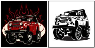 Cartoon 4x4 car. Cartoon off road car. Available EPS-8 vector format separated by groups and layers for easy edit vector illustration