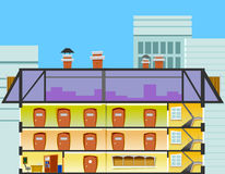 Cartoon office building in the cross section Royalty Free Stock Image