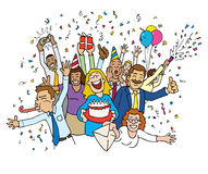 Cartoon Office Celebration Royalty Free Stock Photos