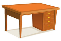 Cartoon Office Desk. Illustration of a cartoon wooden office desk furniture with drawer, isolated on white background Royalty Free Stock Photography