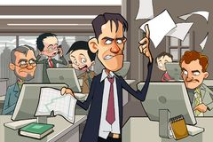 Cartoon office full of people working at computers Royalty Free Stock Image