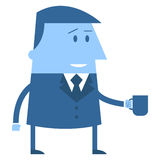 Cartoon Office guy with coffee mug Stock Photo