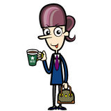 Cartoon Office Lady with a Cup of Coffee and a Briefcase Stock Photo