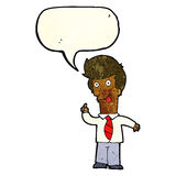 cartoon office man with crazy idea with speech bubble Stock Photography