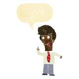 cartoon office man with crazy idea with speech bubble Royalty Free Stock Images