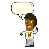 Cartoon office man with idea with speech bubble Royalty Free Stock Image