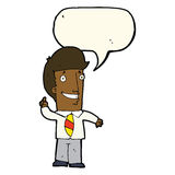 Cartoon office man with idea with speech bubble Royalty Free Stock Images