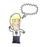 Cartoon office man with idea with speech bubble Stock Photography