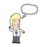 Cartoon office man with idea with speech bubble Stock Image