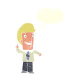 Cartoon office man with idea with speech bubble Stock Photos