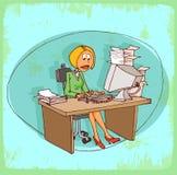 Cartoon office secretary illustration , vector icon. Stock Photos