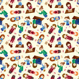 Cartoon office woman worker seamless pattern Royalty Free Stock Image