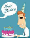 Cartoon office worker with a birthday cake Royalty Free Stock Images
