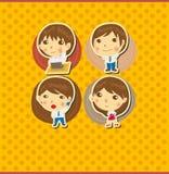 Cartoon office worker card Stock Photography