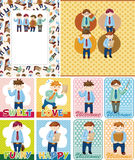 Cartoon office worker card Stock Photo