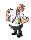 Cartoon office worker having a coffee break Royalty Free Stock Images
