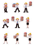 Cartoon office worker Moving document Stock Photo