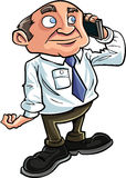 Cartoon office worker on the phone. He is smiling Stock Image