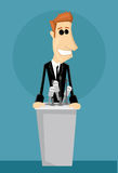 Cartoon office worker in a podium Royalty Free Stock Photography