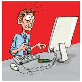 Cartoon office worker shocked Royalty Free Stock Photos