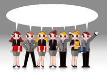 Cartoon office worker speech card Royalty Free Stock Photos