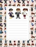 Cartoon office worker speech card Stock Photos