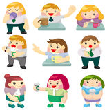 Cartoon office worker tea time icon Stock Photo