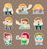 Cartoon office worker tea time stickers Royalty Free Stock Photos