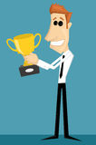 Cartoon office worker with with a trophy Royalty Free Stock Images