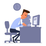 Cartoon office worker typing on computer Royalty Free Stock Photography
