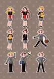 Cartoon office workers,businessman stickers Royalty Free Stock Photo