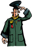 Cartoon officer saluting Stock Photo