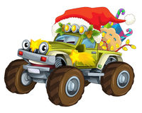Cartoon offroad christmas car - caricature Royalty Free Stock Images
