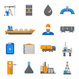 Cartoon Oil Petroleum Processing Icons Set. Vector. Cartoon Oil Petroleum Processing Icons Set Fuel Technology Industry Elements Concept Flat Design Style Royalty Free Stock Photos