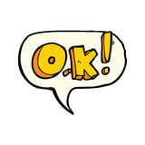 cartoon OK symbol with speech bubble Royalty Free Stock Photos
