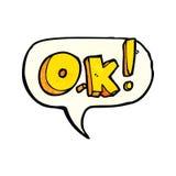 cartoon OK symbol with speech bubble Royalty Free Stock Photo