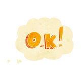 Cartoon OK symbol with thought bubble Stock Photos