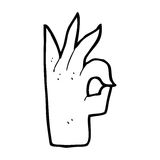 Cartoon okay hand gesture Stock Photography