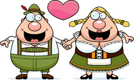 Cartoon Oktoberfest Couple. A cartoon illustration of an Oktoberfest couple holding hands and in love Royalty Free Stock Image