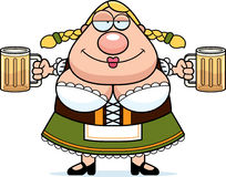 Cartoon Oktoberfest Woman Beer Royalty Free Stock Photo
