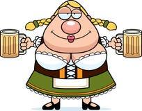 Cartoon Oktoberfest Woman Beer Royalty Free Stock Photo