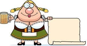 Cartoon Oktoberfest Woman Sign Stock Image