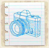 Cartoon old camera on paper note, vector illustration Royalty Free Stock Photography