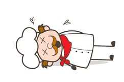 Cartoon Old Chef Dead Body Vector Illustration stock illustration