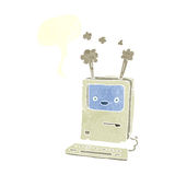 Cartoon old computer with speech bubble Royalty Free Stock Image